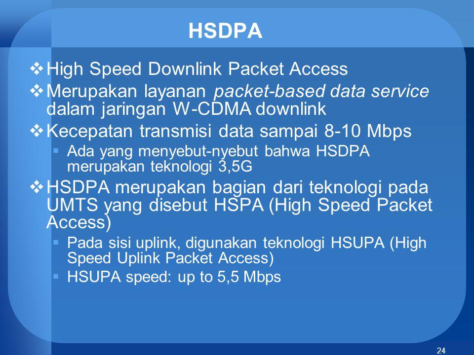 24 HSDPA  High Speed Downlink Packet Access  Merupakan layanan packet-based data service dalam jaringan W-CDMA downlink  Kecepatan transmisi data s