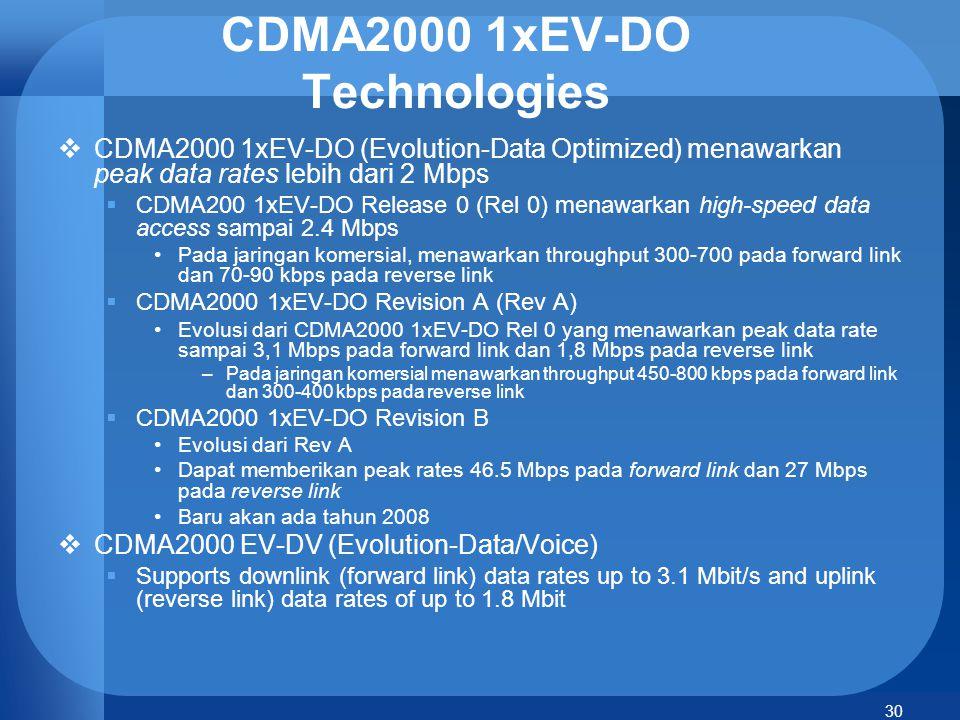 30 CDMA2000 1xEV-DO Technologies  CDMA2000 1xEV-DO (Evolution-Data Optimized) menawarkan peak data rates lebih dari 2 Mbps  CDMA200 1xEV-DO Release