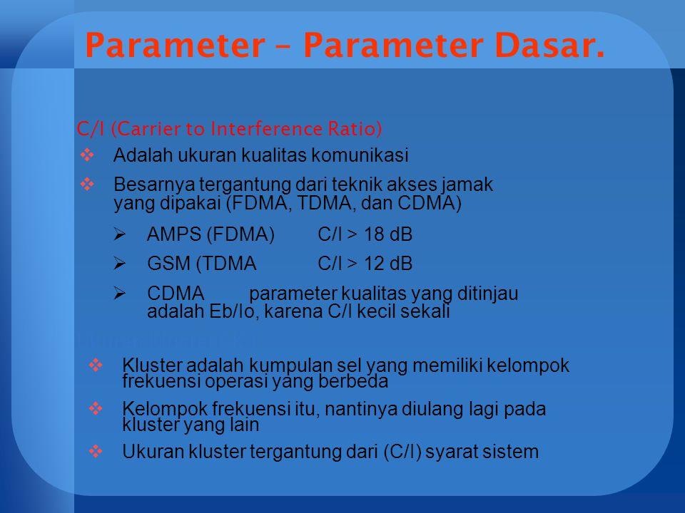 Parameter – Parameter Dasar. C/I (Carrier to Interference Ratio)  Adalah ukuran kualitas komunikasi  Besarnya tergantung dari teknik akses jamak yan
