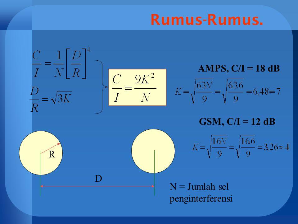 Rumus-Rumus. D R AMPS, C/I = 18 dB GSM, C/I = 12 dB N = Jumlah sel penginterferensi