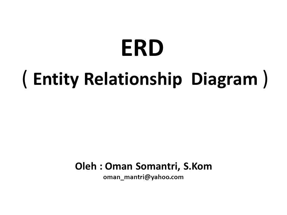 ERD ( Entity Relationship Diagram ) Oleh : Oman Somantri, S.Kom oman_mantri@yahoo.com
