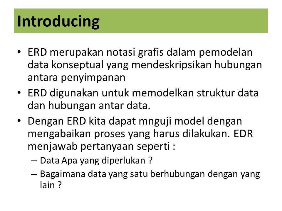 Introducing ERD merupakan notasi grafis dalam pemodelan data konseptual yang mendeskripsikan hubungan antara penyimpanan ERD digunakan untuk memodelkan struktur data dan hubungan antar data.