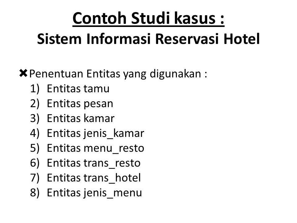 Contoh Studi kasus : Sistem Informasi Reservasi Hotel  Penentuan Entitas yang digunakan : 1)Entitas tamu 2)Entitas pesan 3)Entitas kamar 4)Entitas jenis_kamar 5)Entitas menu_resto 6)Entitas trans_resto 7)Entitas trans_hotel 8)Entitas jenis_menu