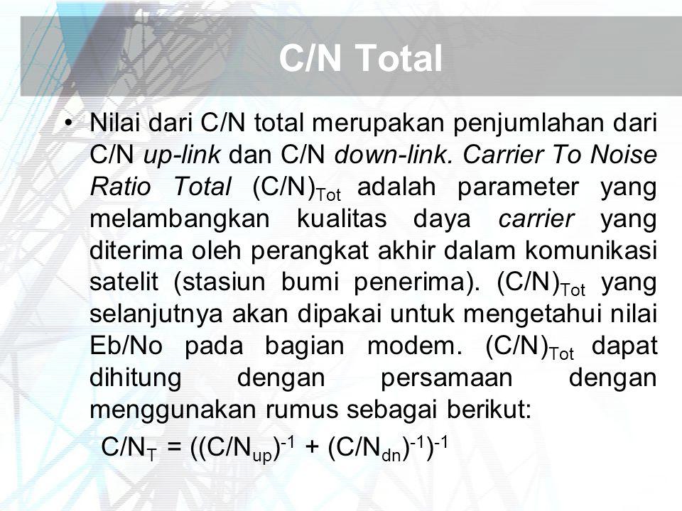 C/N Total Nilai dari C/N total merupakan penjumlahan dari C/N up-link dan C/N down-link. Carrier To Noise Ratio Total (C/N) Tot adalah parameter yang