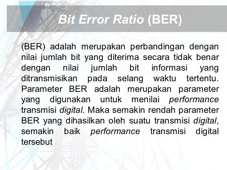Bit Error Ratio (BER) (BER) adalah merupakan perbandingan dengan nilai jumlah bit yang diterima secara tidak benar dengan nilai jumlah bit informasi y