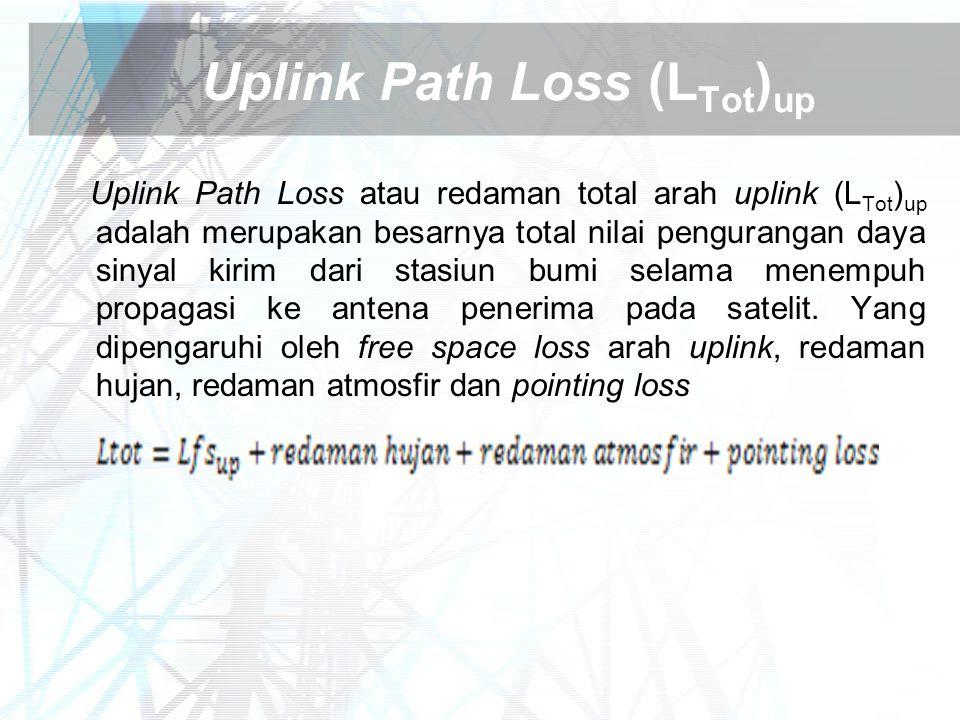 Uplink Path Loss (L Tot ) up Uplink Path Loss atau redaman total arah uplink (L Tot ) up adalah merupakan besarnya total nilai pengurangan daya sinyal