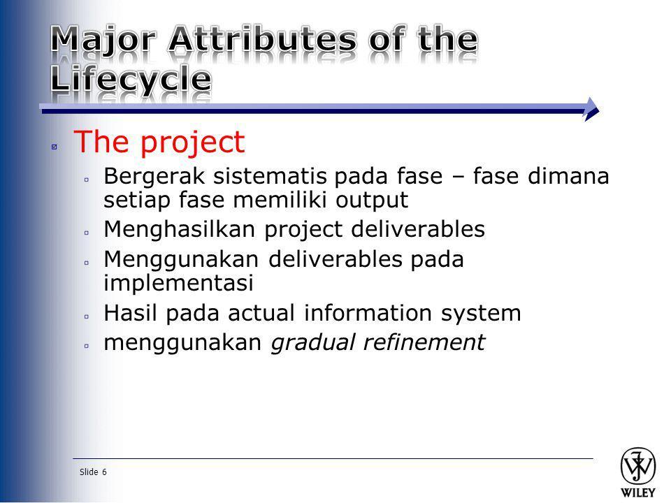 Slide 6 The project Bergerak sistematis pada fase – fase dimana setiap fase memiliki output Menghasilkan project deliverables Menggunakan deliverables