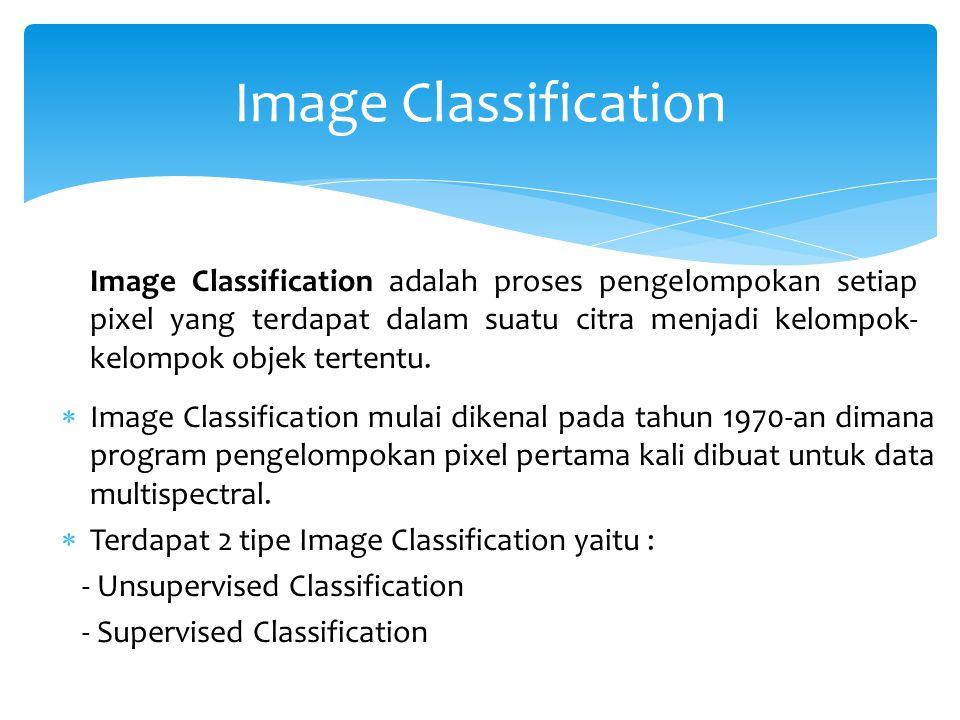 Image Classification Image Classification adalah proses pengelompokan setiap pixel yang terdapat dalam suatu citra menjadi kelompok- kelompok objek tertentu.