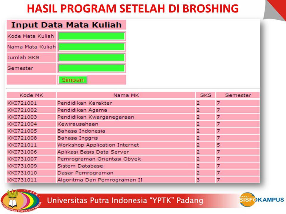 HASIL PROGRAM SETELAH DI BROSHING