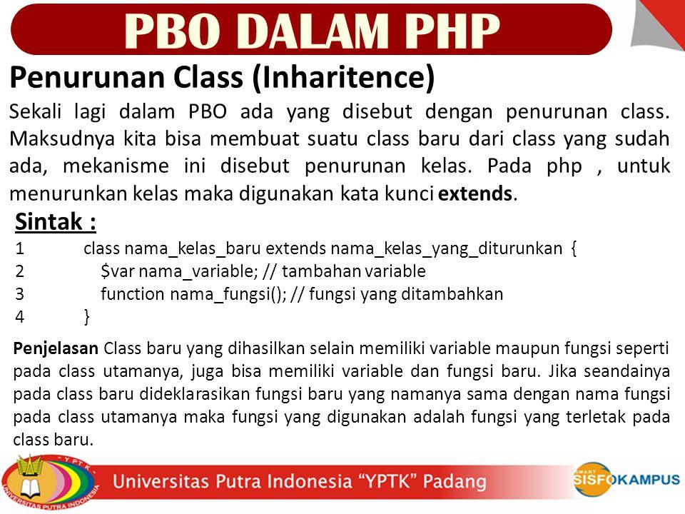 Penurunan Class (Inharitence) Sekali lagi dalam PBO ada yang disebut dengan penurunan class.