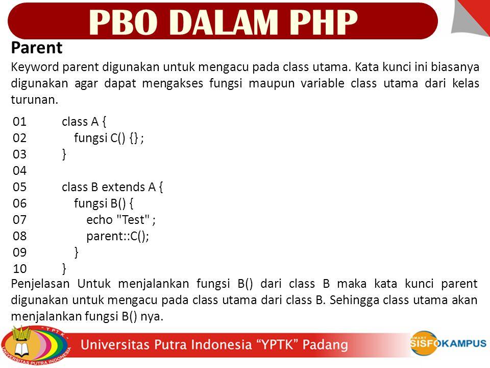 <?php class Pemrograman { var $nama; function getName() { return $this->nama; } function setName($nama) { $this->nama = $nama; } function Pemrograman($nama) { $this->setName($nama); } function changeName($pemrograman, $nama) { $pemrograman->setName($nama); } ?> $prog = new Pemrograman( PHP Classic ); print $prog->getname(); print Diganti menjadi ; changeName($prog, OOP PHP ); print $prog->getName(); PBO DALAM PHP