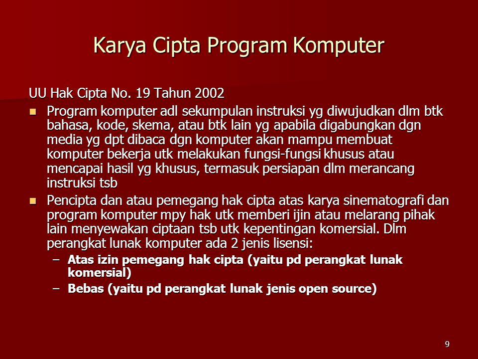 9 Karya Cipta Program Komputer UU Hak Cipta No. 19 Tahun 2002 Program komputer adl sekumpulan instruksi yg diwujudkan dlm btk bahasa, kode, skema, ata