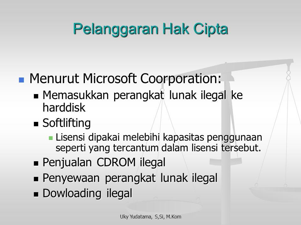 Uky Yudatama, S,Si, M.Kom Pendaftaran Hak Cipta Sertifikat pendaftaran hak cipta perangkat lunak menjadi prima facie evidence (bukti utama) untuk pros