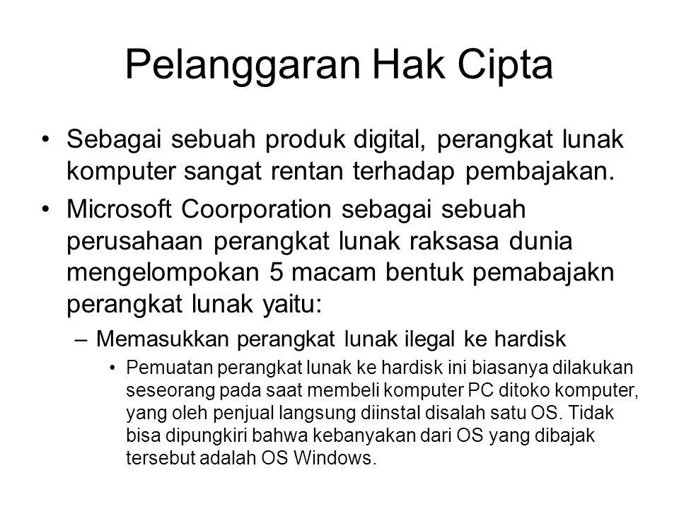 Pelanggaran Hak Cipta Sebagai sebuah produk digital, perangkat lunak komputer sangat rentan terhadap pembajakan. Microsoft Coorporation sebagai sebuah
