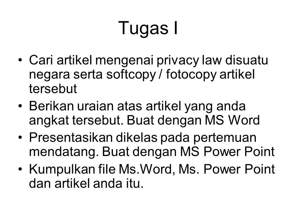 Tugas I Cari artikel mengenai privacy law disuatu negara serta softcopy / fotocopy artikel tersebut Berikan uraian atas artikel yang anda angkat terse
