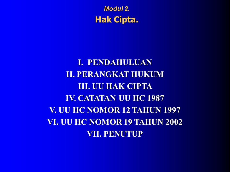I. PENDAHULUAN II. PERANGKAT HUKUM III. UU HAK CIPTA IV. CATATAN UU HC 1987 V. UU HC NOMOR 12 TAHUN 1997 VI. UU HC NOMOR 19 TAHUN 2002 VII. PENUTUP Mo