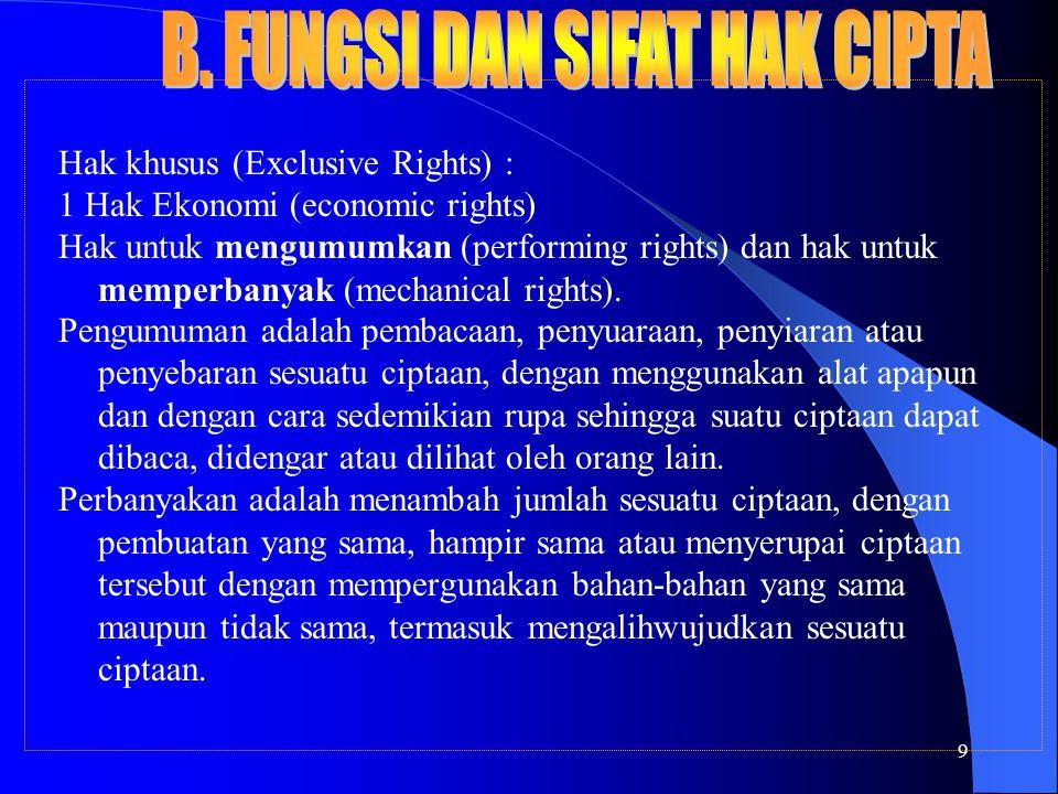 9 Hak khusus (Exclusive Rights) : 1 Hak Ekonomi (economic rights) Hak untuk mengumumkan (performing rights) dan hak untuk memperbanyak (mechanical rights).
