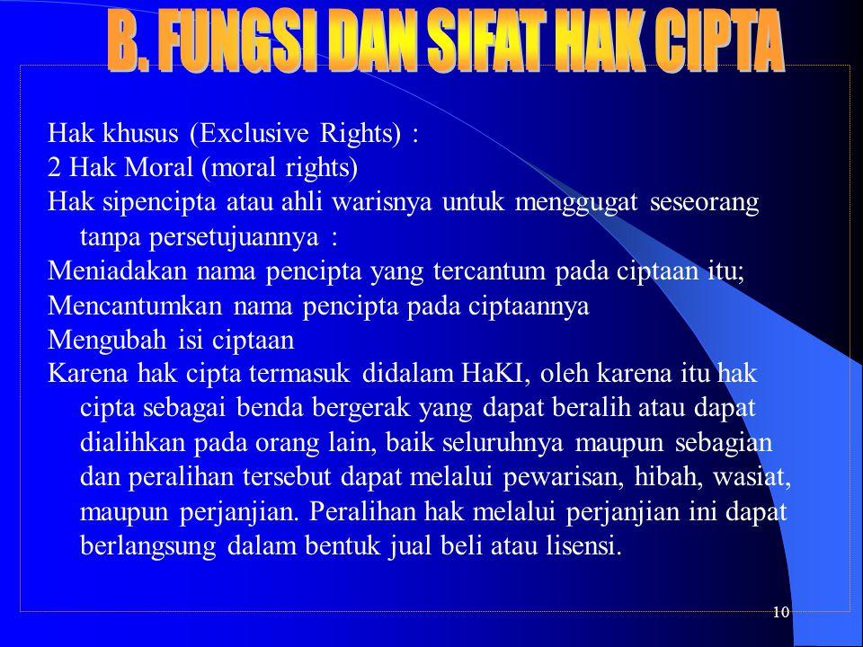 10 Hak khusus (Exclusive Rights) : 2 Hak Moral (moral rights) Hak sipencipta atau ahli warisnya untuk menggugat seseorang tanpa persetujuannya : Menia