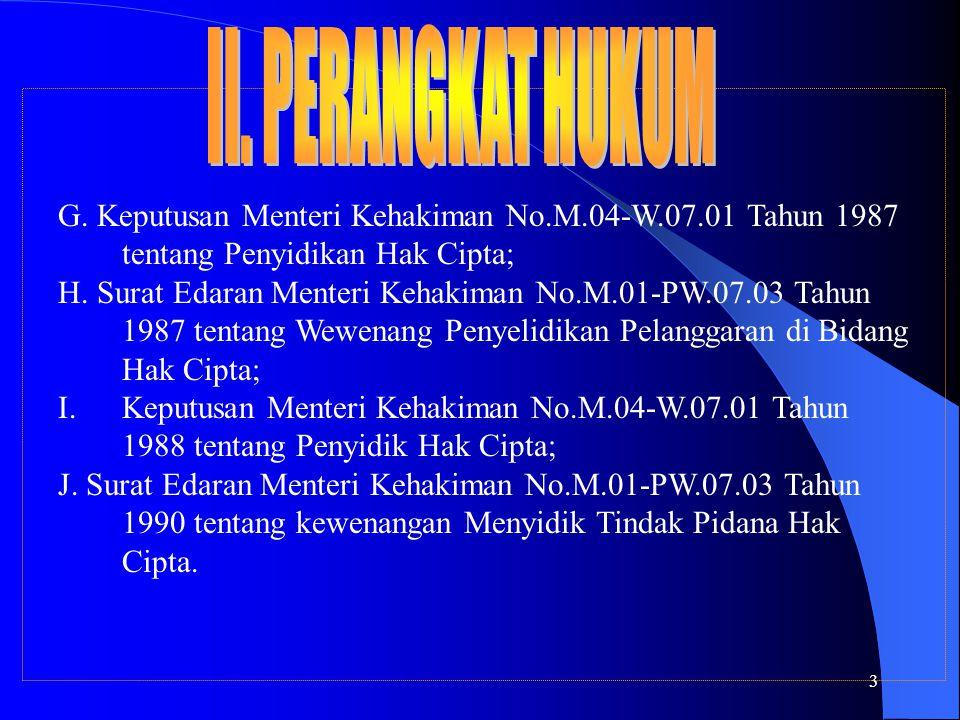 3 G. Keputusan Menteri Kehakiman No.M.04-W.07.01 Tahun 1987 tentang Penyidikan Hak Cipta; H. Surat Edaran Menteri Kehakiman No.M.01-PW.07.03 Tahun 198