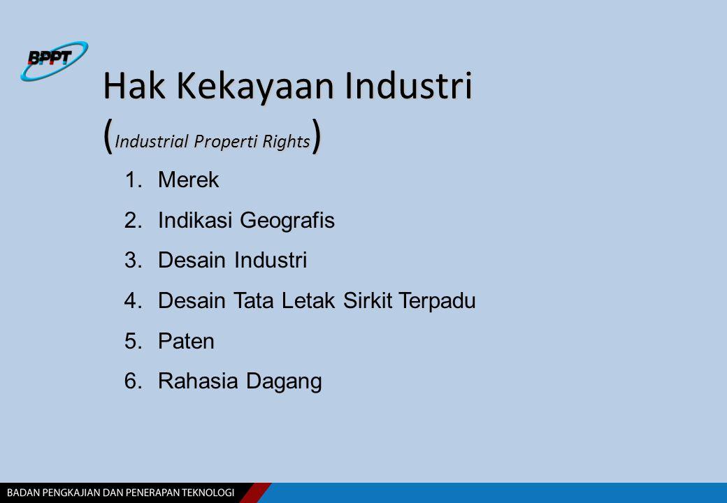 Hak Kekayaan Industri ( Industrial Properti Rights ) 1.Merek 2.Indikasi Geografis 3.Desain Industri 4.Desain Tata Letak Sirkit Terpadu 5.Paten 6.Rahas