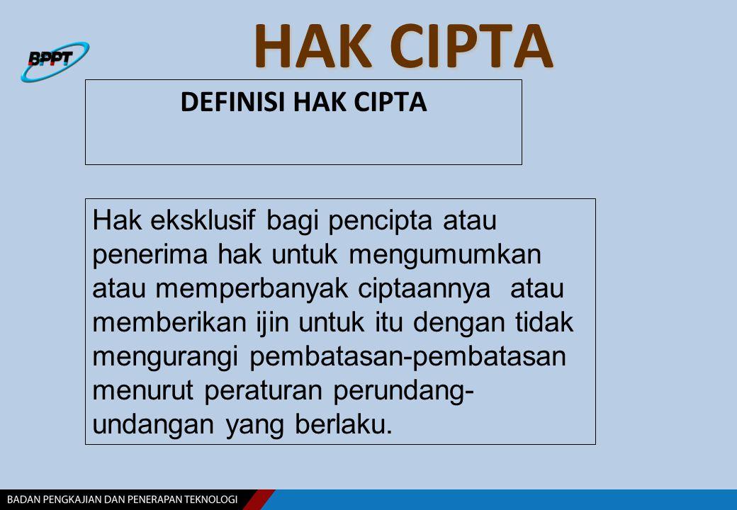 HAK CIPTA DEFINISI HAK CIPTA Hak eksklusif bagi pencipta atau penerima hak untuk mengumumkan atau memperbanyak ciptaannya atau memberikan ijin untuk i