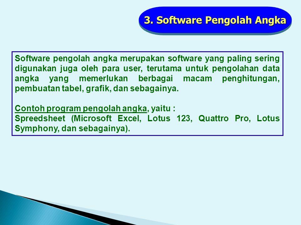 2. Software Pengolah Kata Software pengolah kata ini paling banyak digunakan oleh para pengguna komputer baik disekolah, dikantor, bahkan dirumah. Sof