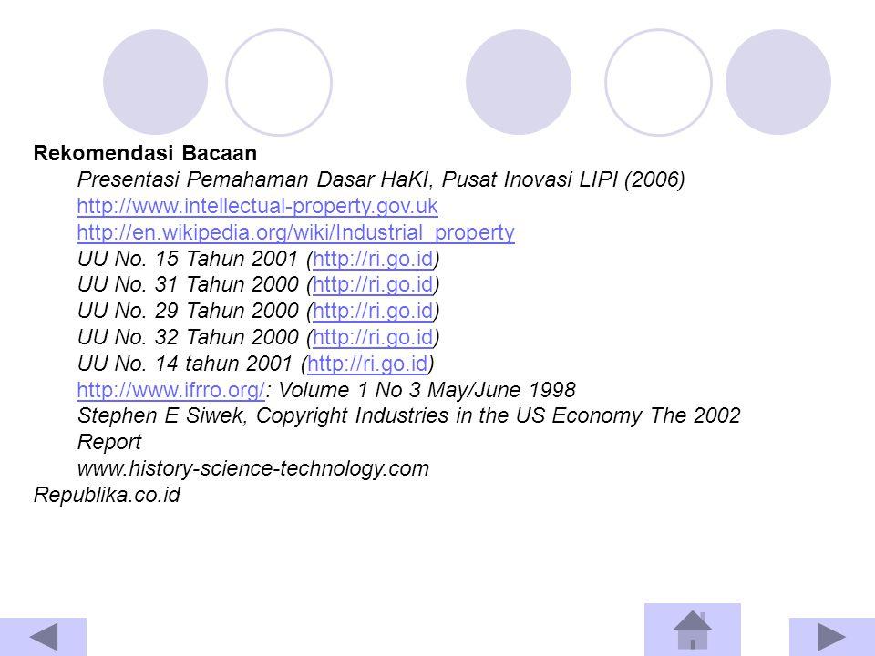 Rekomendasi Bacaan Presentasi Pemahaman Dasar HaKI, Pusat Inovasi LIPI (2006) http://www.intellectual-property.gov.uk http://en.wikipedia.org/wiki/Industrial_property UU No.