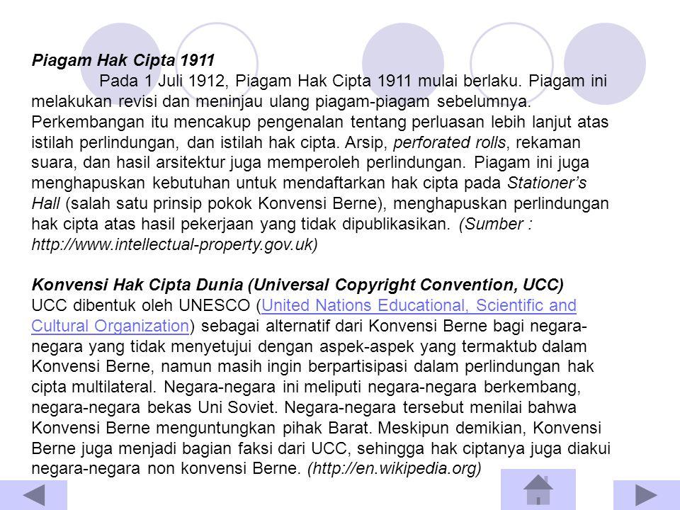 Piagam Hak Cipta 1911 Pada 1 Juli 1912, Piagam Hak Cipta 1911 mulai berlaku. Piagam ini melakukan revisi dan meninjau ulang piagam-piagam sebelumnya.