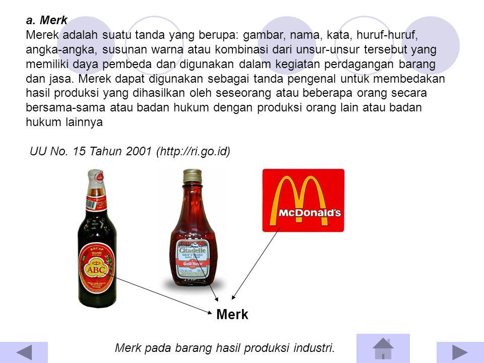 Merek harus memilik daya pembeda Merek tidak boleh menggunakan nama barang yang dimintakan perlindungan Merek dapat menunjukkan asal-usul suatu barang (indikasi geografis) Beberapa ketentuan terkait dengan merk :
