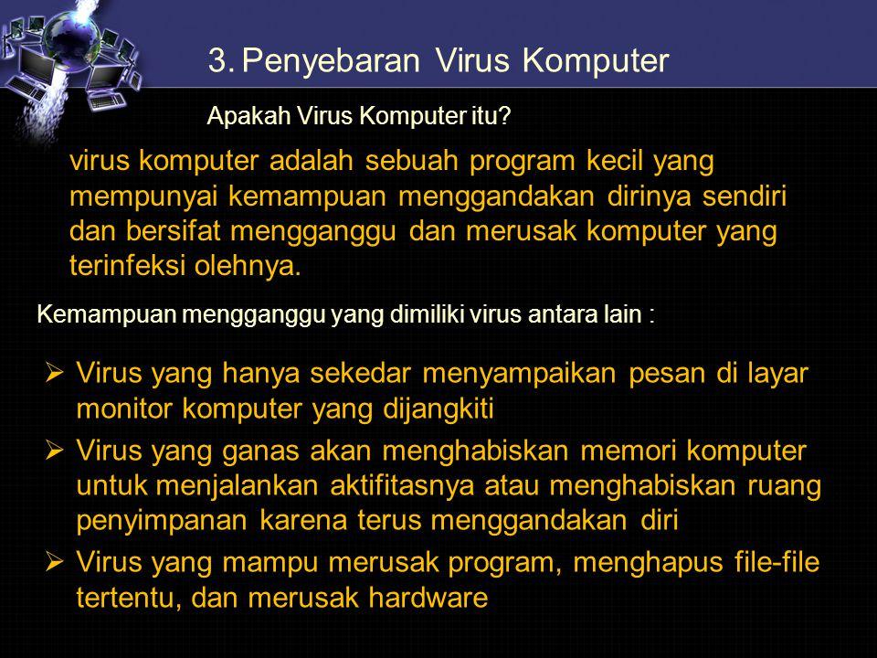 3.Penyebaran Virus Komputer Apakah Virus Komputer itu? virus komputer adalah sebuah program kecil yang mempunyai kemampuan menggandakan dirinya sendir