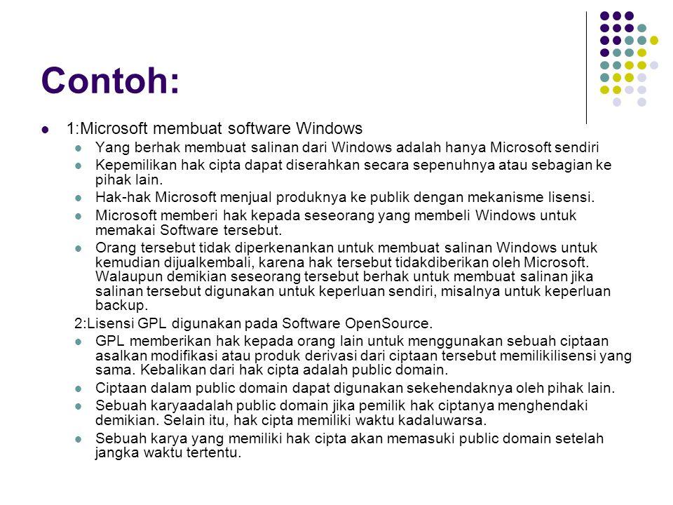 Contoh: 1:Microsoft membuat software Windows Yang berhak membuat salinan dari Windows adalah hanya Microsoft sendiri Kepemilikan hak cipta dapat diserahkan secara sepenuhnya atau sebagian ke pihak lain.