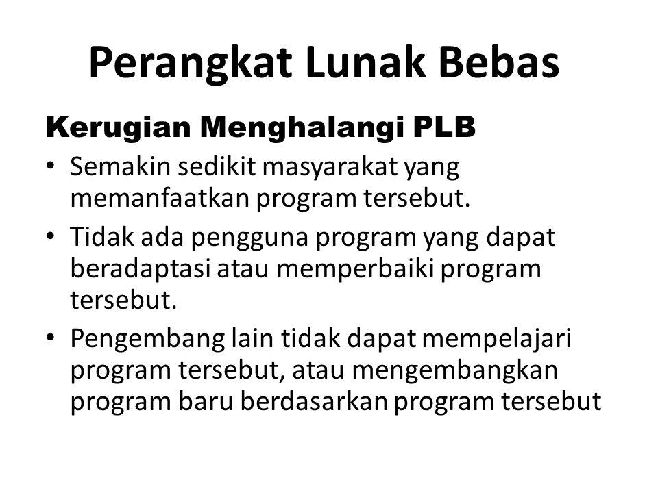 Perangkat Lunak Bebas Produktivitas PLB Penggunaan yang lebih luas pada program yang dikembangkan.
