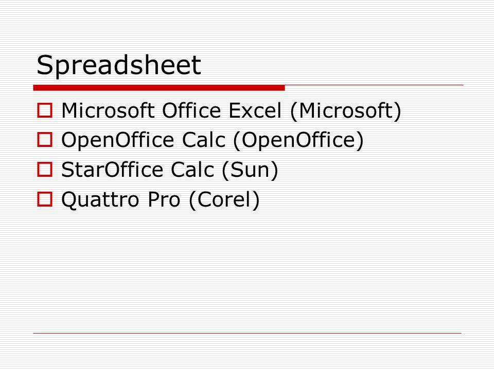 Spreadsheet  Microsoft Office Excel (Microsoft)  OpenOffice Calc (OpenOffice)  StarOffice Calc (Sun)  Quattro Pro (Corel)