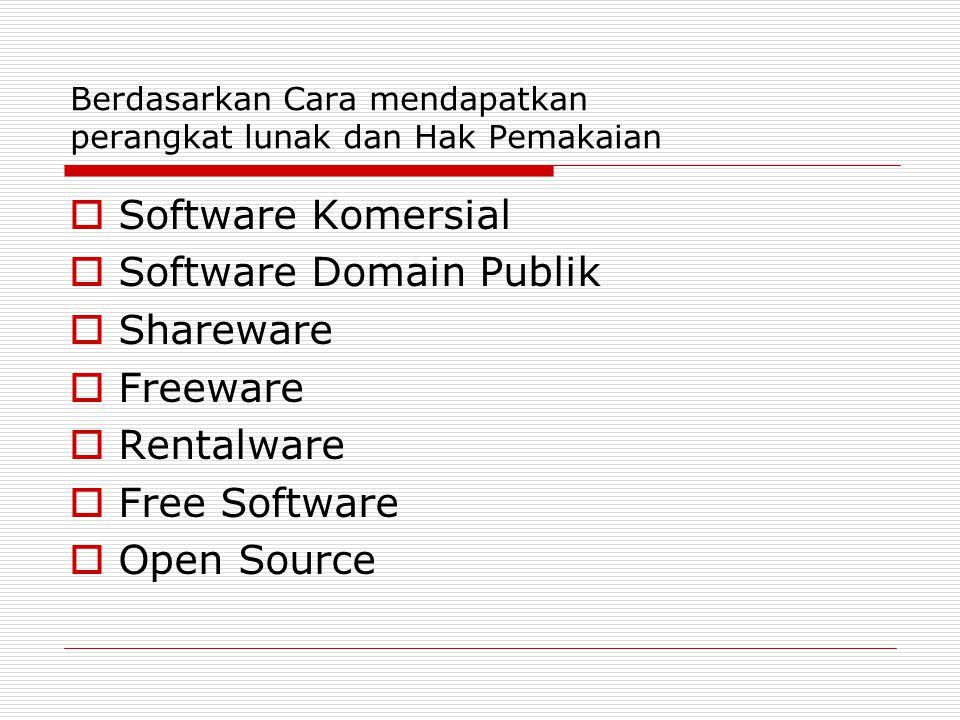 Berdasarkan Cara mendapatkan perangkat lunak dan Hak Pemakaian  Software Komersial  Software Domain Publik  Shareware  Freeware  Rentalware  Free Software  Open Source