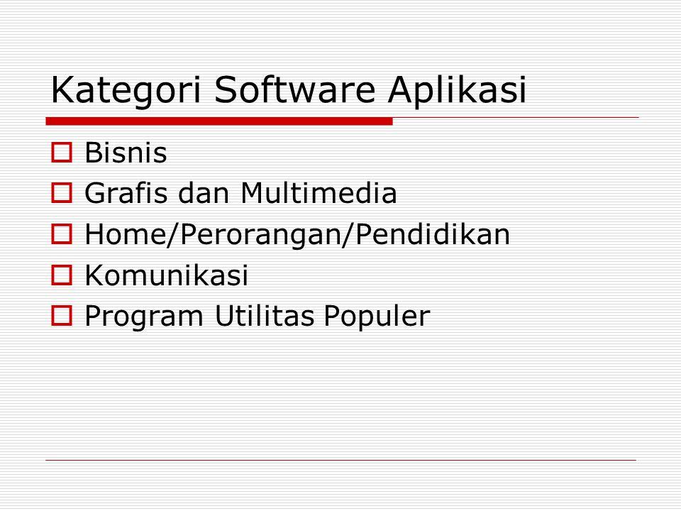 Kategori Software Aplikasi  Bisnis  Grafis dan Multimedia  Home/Perorangan/Pendidikan  Komunikasi  Program Utilitas Populer