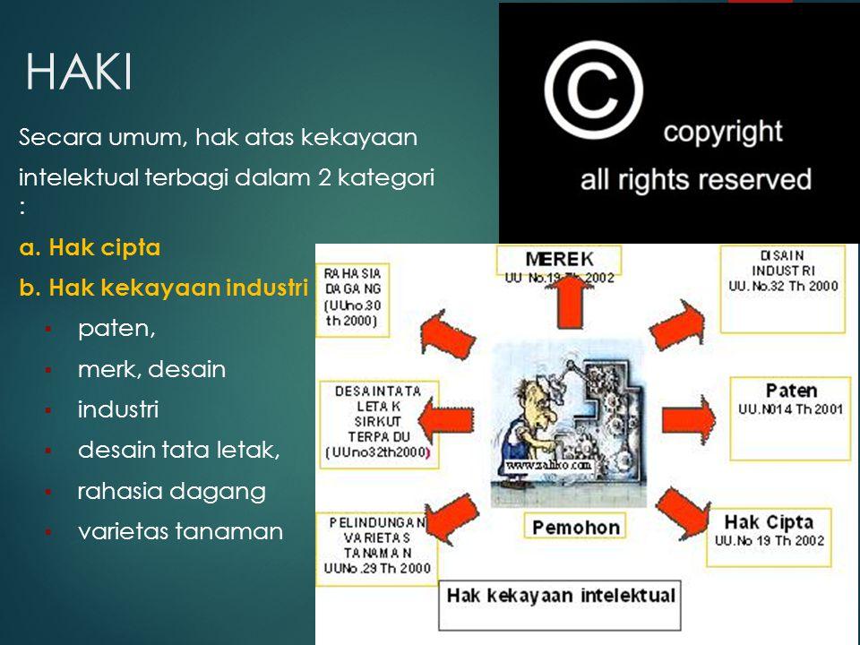 HAKI Secara umum, hak atas kekayaan intelektual terbagi dalam 2 kategori : a. Hak cipta b. Hak kekayaan industri  paten,  merk, desain  industri 