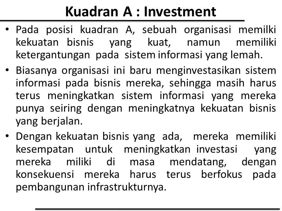Kuadran A : Investment Pada posisi kuadran A, sebuah organisasi memilki kekuatan bisnis yang kuat, namun memiliki ketergantungan pada sistem informasi