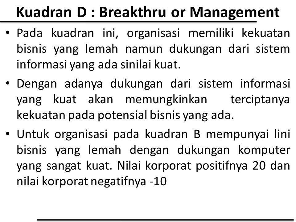 Kuadran D : Breakthru or Management Pada kuadran ini, organisasi memiliki kekuatan bisnis yang lemah namun dukungan dari sistem informasi yang ada sin