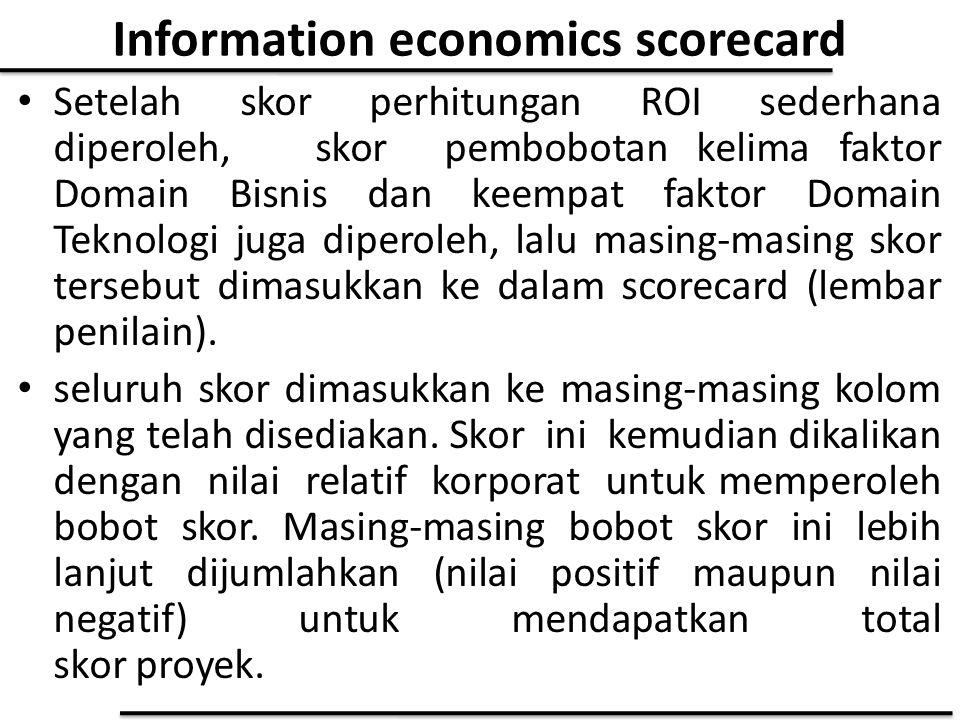 Information economics scorecard Setelah skor perhitungan ROI sederhana diperoleh, skor pembobotan kelima faktor Domain Bisnis dan keempat faktor Domai