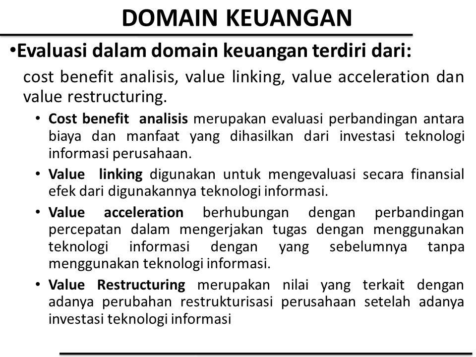 DOMAIN KEUANGAN Evaluasi dalam domain keuangan terdiri dari: cost benefit analisis, value linking, value acceleration dan value restructuring. Cost be