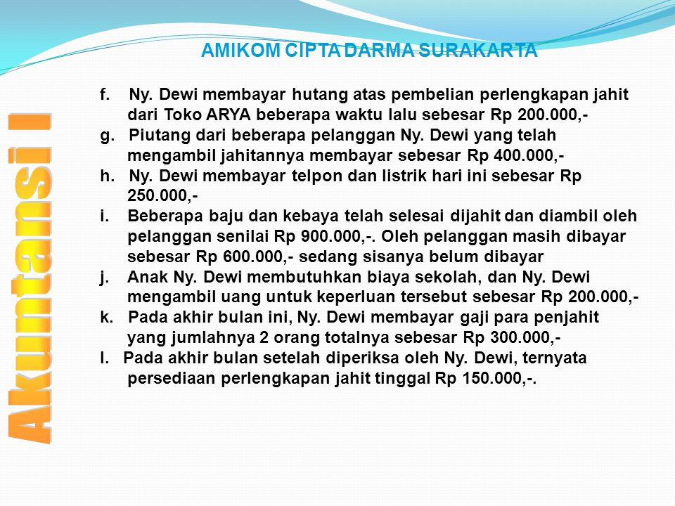 AMIKOM CIPTA DARMA SURAKARTA f. Ny. Dewi membayar hutang atas pembelian perlengkapan jahit dari Toko ARYA beberapa waktu lalu sebesar Rp 200.000,- g.