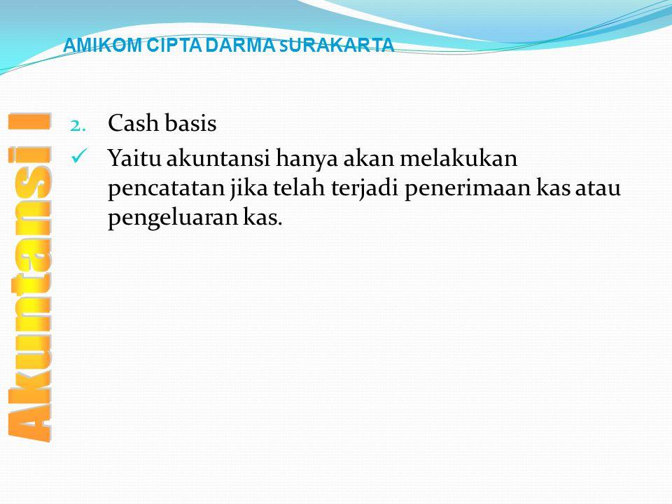 AMIKOM CIPTA DARMA S URAKARTA 2. Cash basis Yaitu akuntansi hanya akan melakukan pencatatan jika telah terjadi penerimaan kas atau pengeluaran kas.