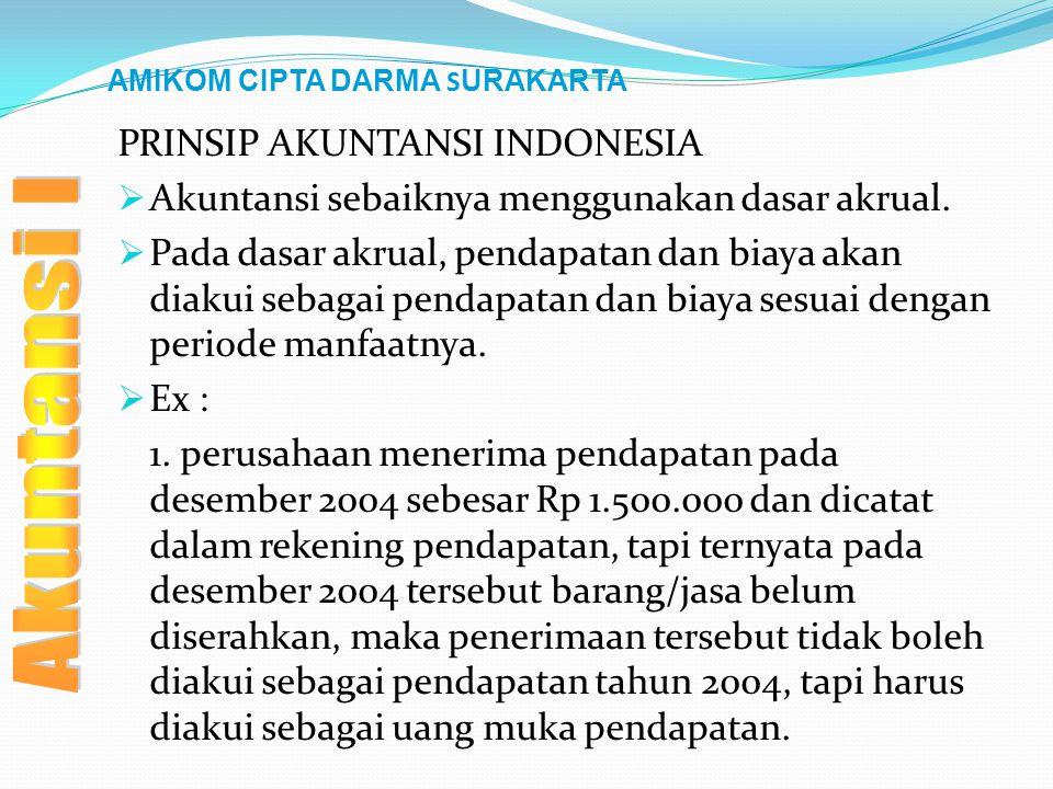 AMIKOM CIPTA DARMA S URAKARTA PRINSIP AKUNTANSI INDONESIA  Akuntansi sebaiknya menggunakan dasar akrual.  Pada dasar akrual, pendapatan dan biaya ak