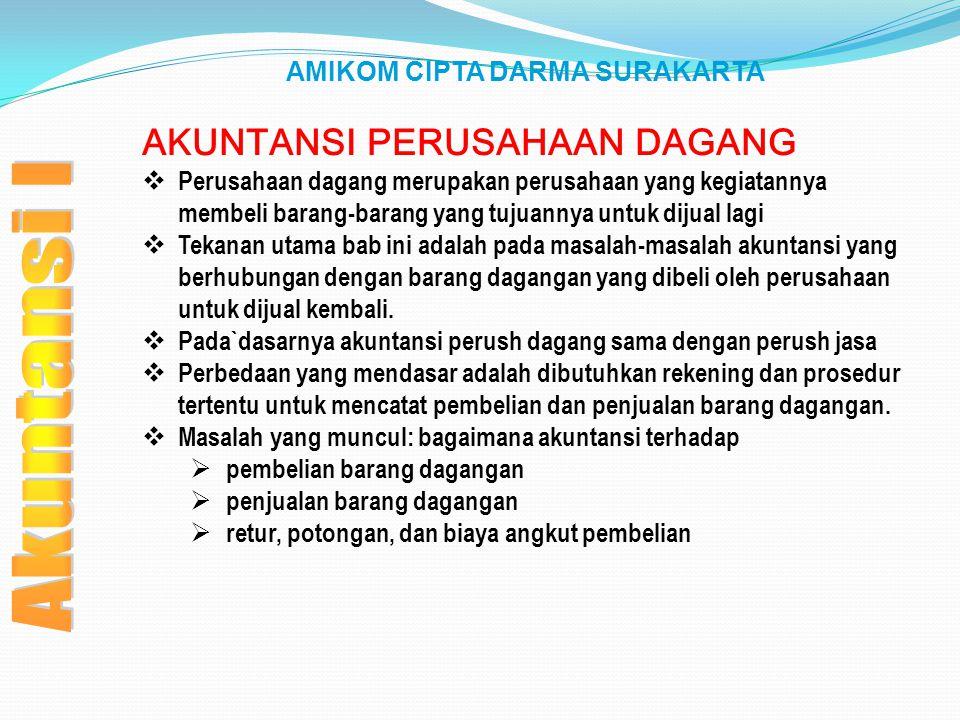 AMIKOM CIPTA DARMA SURAKARTA AKUNTANSI PERUSAHAAN DAGANG  Perusahaan dagang merupakan perusahaan yang kegiatannya membeli barang-barang yang tujuanny