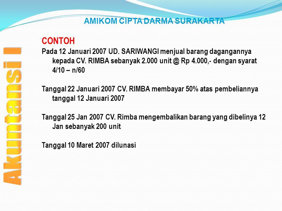 AMIKOM CIPTA DARMA SURAKARTA CONTOH Pada 12 Januari 2007 UD. SARIWANGI menjual barang dagangannya kepada CV. RIMBA sebanyak 2.000 unit @ Rp 4.000,- de