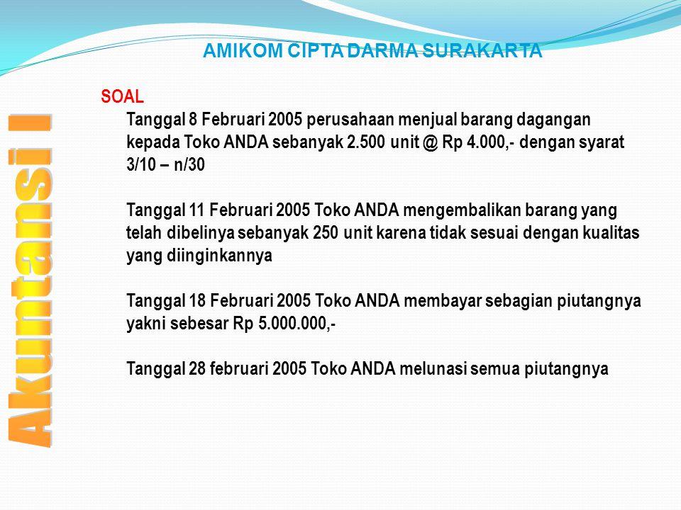 AMIKOM CIPTA DARMA SURAKARTA SOAL Tanggal 8 Februari 2005 perusahaan menjual barang dagangan kepada Toko ANDA sebanyak 2.500 unit @ Rp 4.000,- dengan