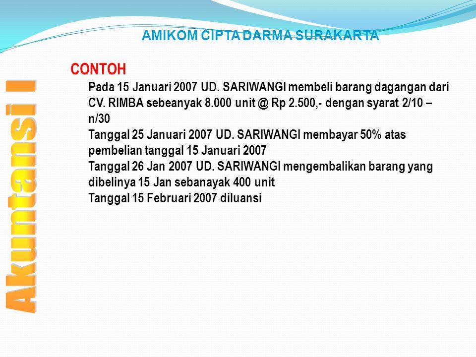 AMIKOM CIPTA DARMA SURAKARTA CONTOH Pada 15 Januari 2007 UD. SARIWANGI membeli barang dagangan dari CV. RIMBA sebeanyak 8.000 unit @ Rp 2.500,- dengan