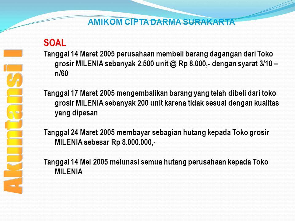 AMIKOM CIPTA DARMA SURAKARTA SOAL Tanggal 14 Maret 2005 perusahaan membeli barang dagangan dari Toko grosir MILENIA sebanyak 2.500 unit @ Rp 8.000,- d
