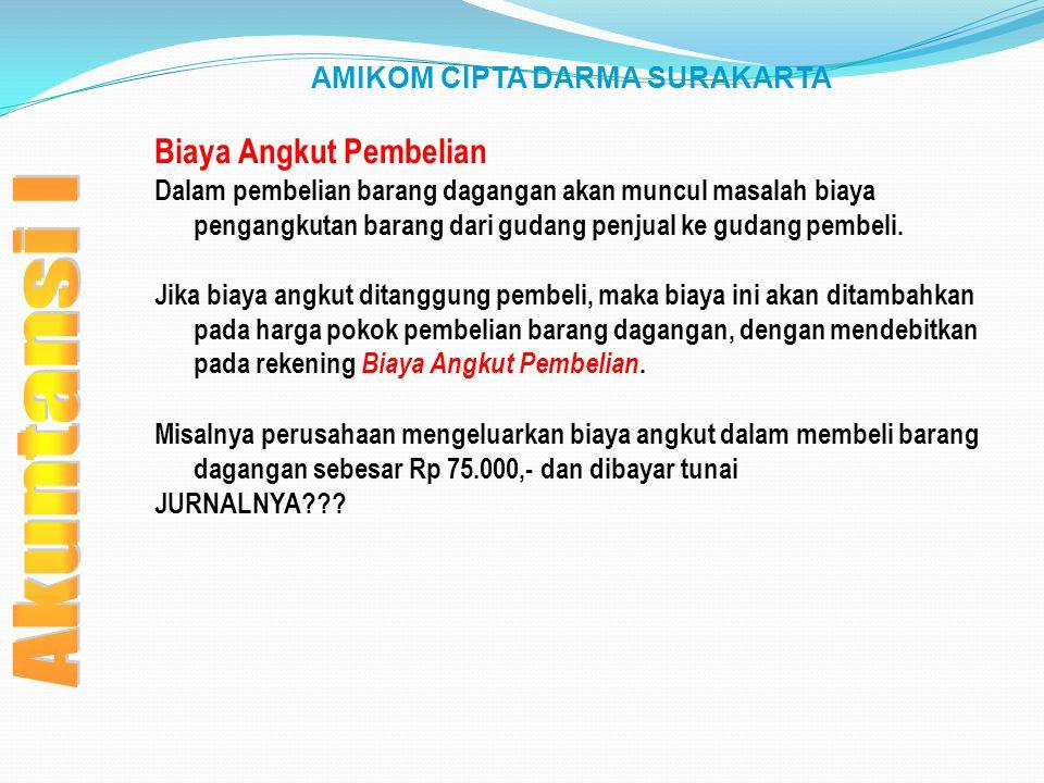 AMIKOM CIPTA DARMA SURAKARTA Biaya Angkut Pembelian Dalam pembelian barang dagangan akan muncul masalah biaya pengangkutan barang dari gudang penjual