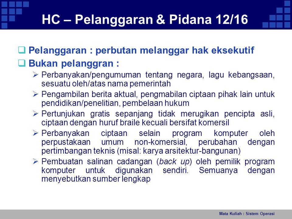 Mata Kuliah : Sistem Operasi HC – Pelanggaran & Pidana 12/16  Pelanggaran : perbutan melanggar hak eksekutif  Bukan pelanggran :  Perbanyakan/pengu